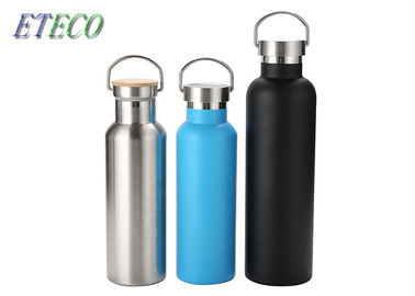 Stainless Steel Personalised Metal Water Bottles Bamboo Wooden Metal Lid