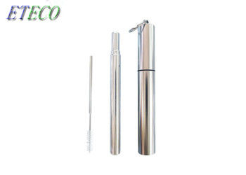 Travel Engraved Stainless Steel Straws With Case Cleaning Brush Keychain 10 Grams