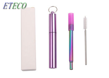 8mm Telescopic Stainless Steel Straws With Logo Cleaning Brush Offered