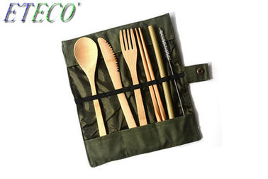 Reusable Cutlery Biodegradable Tableware Set Eco-Friendly Bamboo Dinnerware With Bag Pothook